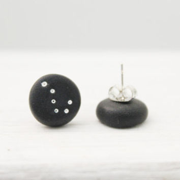 galaxy big dipper earrings, polymer clay jewelry, stud earrings