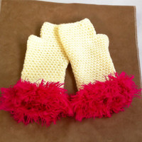 Crochet Fingerless Gloves, Pink and White Wrist Warmers With Fur, Handmade Hot Pink and Off White Knitted Arm Warmers Gift For Women