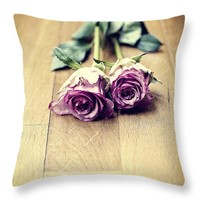 """Two violet roses Throw Pillow for Sale by Ivy Ho - 16"""" x 16"""""""