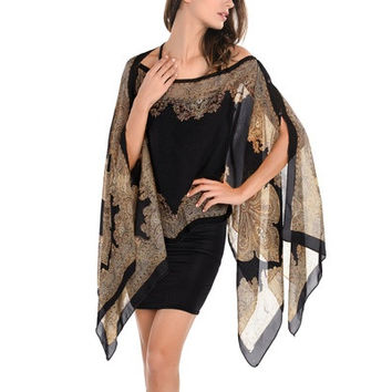 Womens V Neck Batwing Sleeve Floral Print Irregular Hem Cape Kaftan Blouse Top [9222179396]