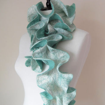Felted Scarf Ruffle Collar Felt Ruffle Scarf Neck Warmer Teal Green Aqua Seafoam Super Soft Fashion Scarves - Gift for her under 45