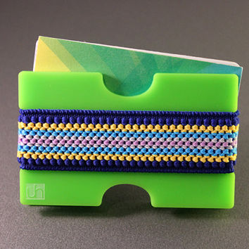 Men's wallet, GREEN with Blue & Yellow elastic band