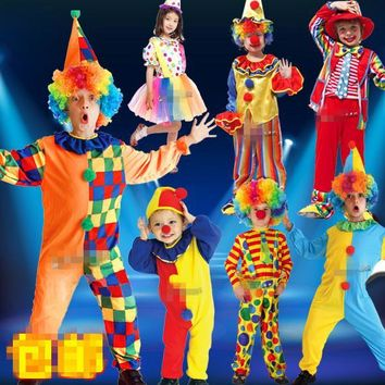 Halloween Costumes Funny Kids Children Circus Clown Costume Naughty Harlequin Uniform Fancy Cosplay Clothing for Boys Girls