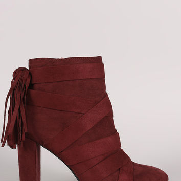 Qupid Strappy Tassel Suede Chunky Heeled Booties