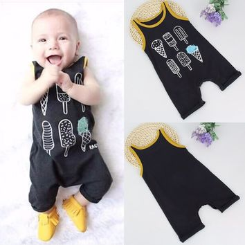 Puseky 2017 0-24M Newborn Baby Boys Girls Clothes Cute Infant Ice Cream Romper Lovely Sleeveless Outfit Baby Rompers Summer