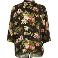 River Island Womens Black tropical floral print shirt