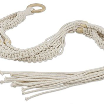 Aura Design's Handmade Macrame Plant Hangers Indoor Outdoor Macrame Hanging Planter Macrame Plant Holder Cotton Hanging Plant Holder Rope Plant Hanger with Beige Beads 4 Legs 40 Inch