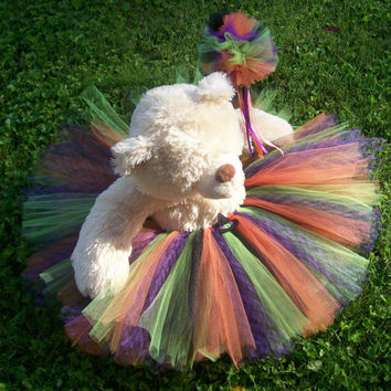 Girls Halloween tutu, toddler girls, baby girls witch  costume, matching wand. Size 3T, 6 to 12 months