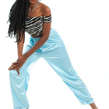 Vintage 90's And I Creep Blue Satin Pants - One Size Fits Many