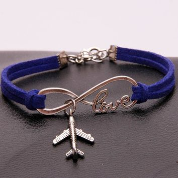 (12pcs/lot) Infinity Love Aircraft Charm Bracelet Velvet Plane Shaped Airplane Bracelets & Bangles Jewelry For Women Men 19Color