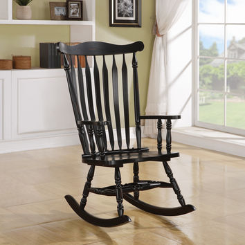 "Rocking Chair - 44""H - Black Oak Traditional Style"