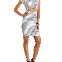Black/White Windowpane-Checked Bodycon Dress by Charlotte Russe