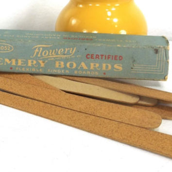 vintage 50s emery boards display box nail files advertisement ad prop decorative home decor cosmetics makeup cosmetology health beauty old