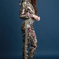 Metallic Floral Camouflage Ruffle Shoulder Track Suit | UrbanOG