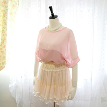 Romantic oversized sheer chiffon blush pink & dusty pink mavue batwing dolman top blouse color block
