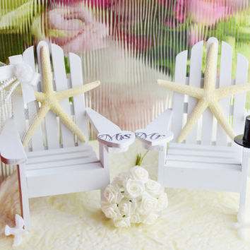 Wedding Cake Topper ~ Miniature Adirondack Chairs  ~ Sugar Starfish Bride/Groom ~ Beach Wedding Decor ~ Choose Your Own Beach Extras