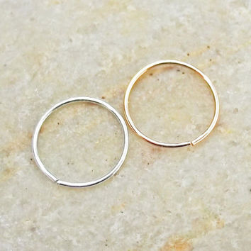 Set of Two Thin 24 Gauge Nose Hoops, Argentium Sterling Silver, 14K Rose Gold Filled