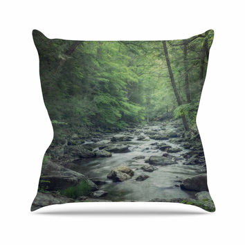 "Suzanne Harford ""Misty Forest Stream"" Nature Photography Outdoor Throw Pillow"