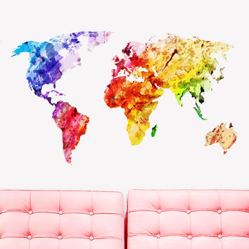 Full color Wall Decal Vinyl Sticker Decals Art Decor Design World Travel Map Watercolor paint countries City Nursery Bedroom Dorm (rcol62)