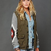 Free People Cargo Jacket with Sweater Sleeves