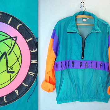 Vintage 80s Mens Jacket / OCEAN PACIFIC Beach Jacket / Wind Breaker / large