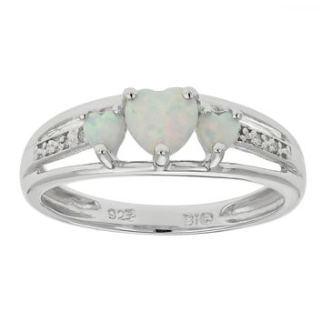 .50 Ct Triple Heart White Opal and .018 cttw Diamond 10K White Gold Ring