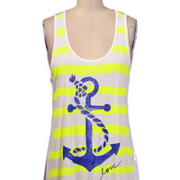 Anchor Print Striped Top