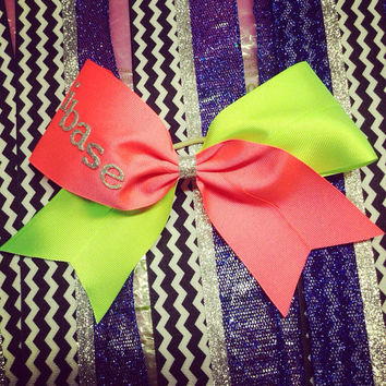Neon hot pink and green 3 inch cheerleader cheer bow ifly ibase
