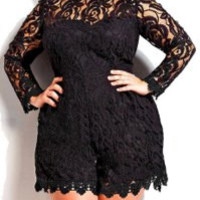 Black Long Sleeve Lace Romper