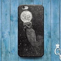 iPhone 4 4s 5 5s 5c 6 6s plus + iPod Touch 4th 5th 6th Generation Lunar Moon Cover Cute Artistic Punk Space Head Dress Custom Grey Cool Case