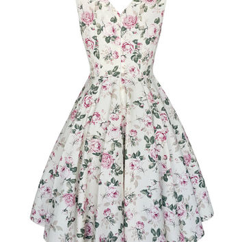 Vintage Rose Bridesmaid Dress Floral Bridesmaid Dress Floral Dress Pin Up Dress Prom Dress Swing Summer Dress Holiday Dress Plus Size Dress