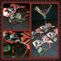 Harley Quinn with mallet ceramic drink coaster, wall art or decorative plate handmade DC comic