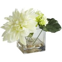 Dahlia & Snowball in Square Vase