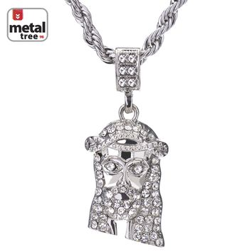 """Jewelry Kay style Men's Hip Hop 14k Gold Plated Micro Jesus Piece 24"""" Rope Chain Pendant Necklace"""