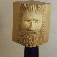 Hand Carved Wood Spirit Wine Bottle Stopper
