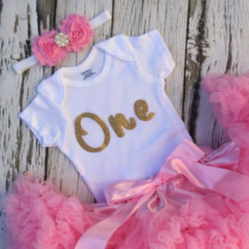 594a27b95a Girls First Birthday outfit. Pink and gold birthday. Birthday outfit. Baby girl  birthday