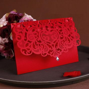 2016 NEW Vintage Wedding Supplies China Laser Cut Luxurious Wedding Invitations Red Elegant Wedding Invitation Paper Cards 50pcs