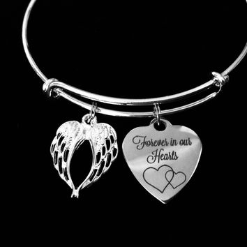 Forever in our Hearts Adjustable Bracelet Expandable Charm Bangle Memorial Gift Remembrance