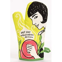 Hot, Hot Vegetarian Action Oven Mitt in Girl Cooking