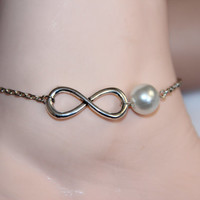 infinity anklet/bracelet,pearl anklet,silver charm anklet,imitate pearl,beaded chain anklet, summer trending,lucky jewelry,personalized gift