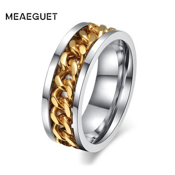 Meaeguet 8mm Men's Rock Punk Spinner Rings Stainless Steel Rings for Men Jewelry Engagement Wedding Rings for Men Jewelry