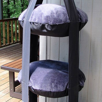 Cat Bed, Purple & Grey Triple Kitty Cloud Hanging Cat Bed, Pet Furniture, Pet Gift, Cat Gift