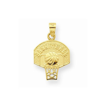 10k Yellow Gold Basketball Net Charm Pendant