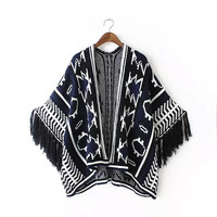 Navy None-Button Patterned Tassel Sweater