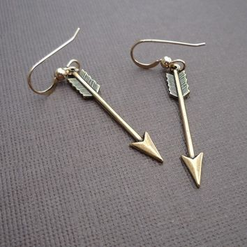petite golden arrow earrings 14kt gold filled earrings