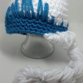 """Crochet frozen inspired hat. Size 5 and up. Made by Bead Gs on ETSY. size 20"""""""