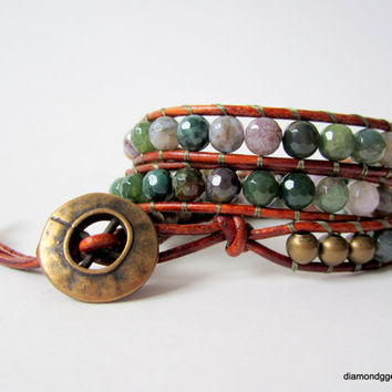 3x Agate Beaded Leather Wrap Brass Beads Brass Button Women's Brown Leather Wrap Bracelet Chic Cowgirl Jewelry Handmade Southwestern Rustic