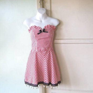 Red & White Stripe Vintage Dance Hall Girl Costume; XXS-XS Mini Strapless BarMaid/Heart of Gold/Westworld Droid; U.S. Shipping Included