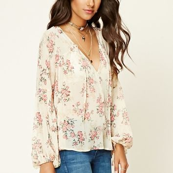 Floral Print Self-Tie Top