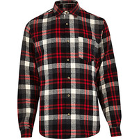 River Island MensBlack check long sleeve shirt